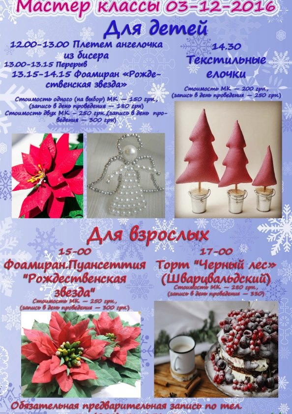 Мастер-класс для взрослых — «Цветы Пуансеттии из фоамирана» | Киев